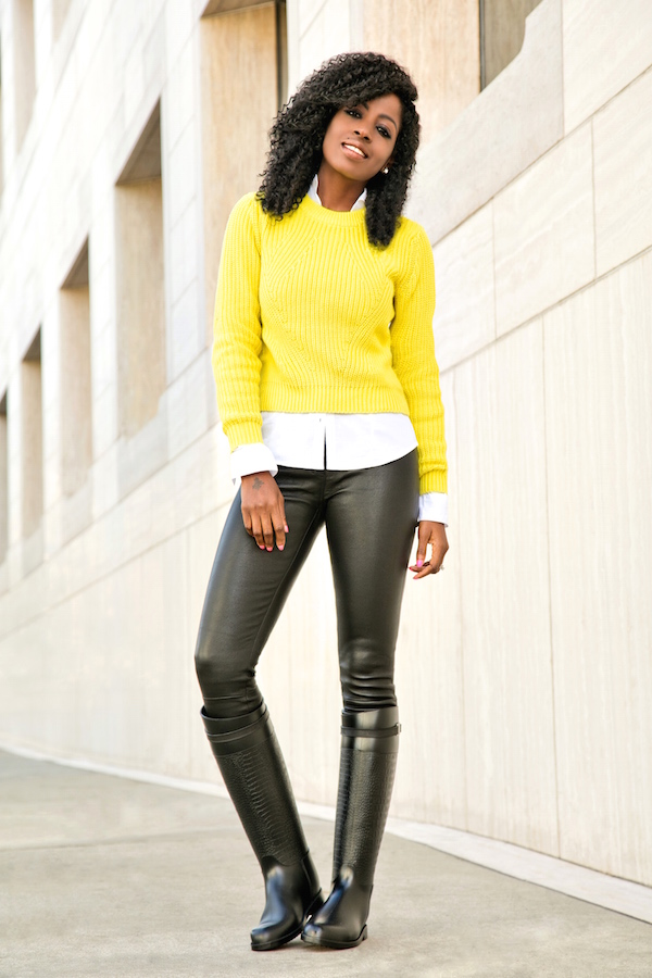 Neon Sweater + Button Down + Leatherette Pants