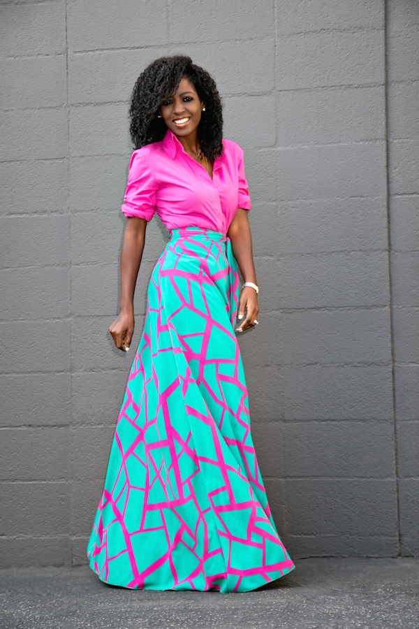 Maxi Skirt With Flowy Top - Skirts