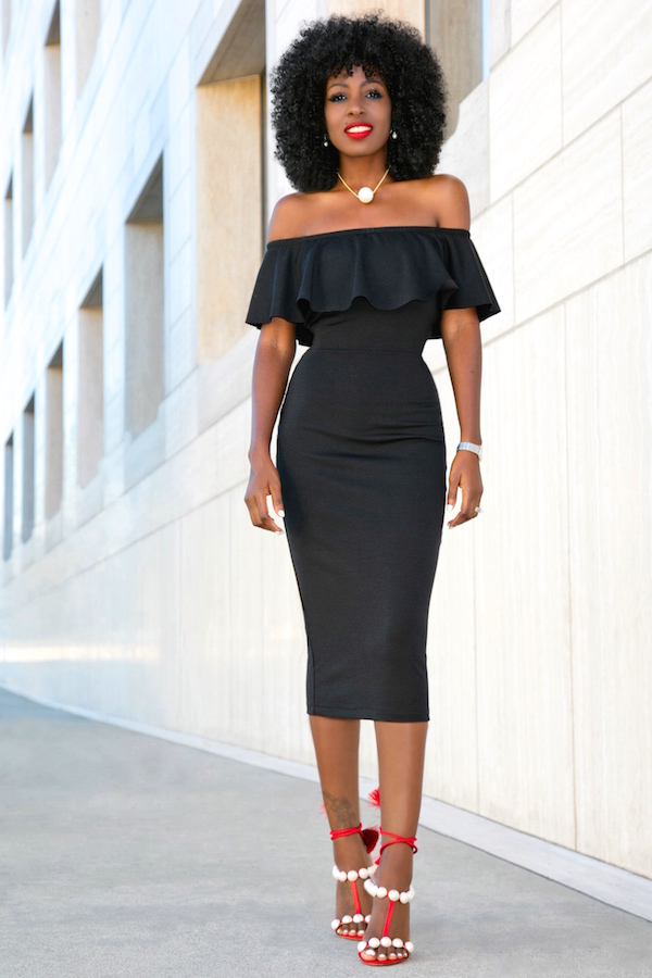 Style Pantry | Black Off Shoulder Frill Midi Dress