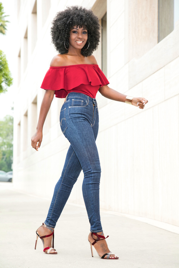 Dark Blue Jeans With Black Peplum Top And Red Shoes