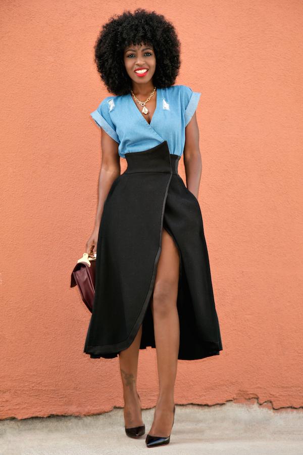 style pantry wrap denim top origami wrap skirt