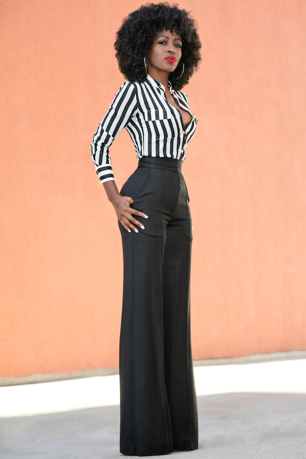 Style Pantry Fitted Striped Shirt High Waist Pintucked