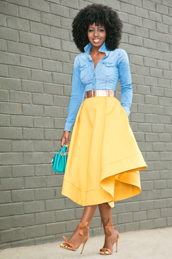 Style Pantry | yellow midi skirt