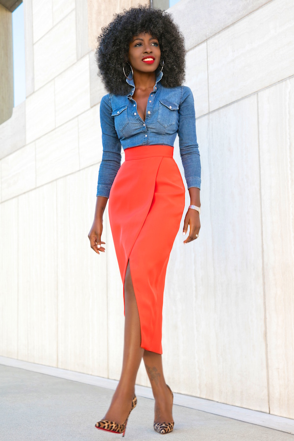 Fitted Denim Shirt + Front Slit Tulip Skirt | Style Pantry | Bloglovinu2019