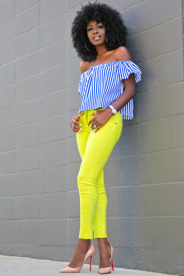 Style Pantry | Striped Off Shoulder + Neon Skinny Jeans
