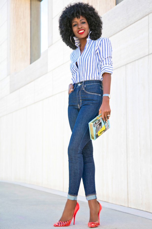 Style Pantry | Striped Button Down Shirt   High Waist Levis Jeans