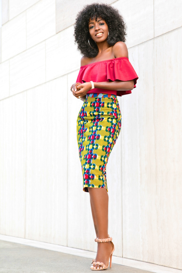 Style Pantry | Off Shoulder Frill Top   Printed Pencil Skirt