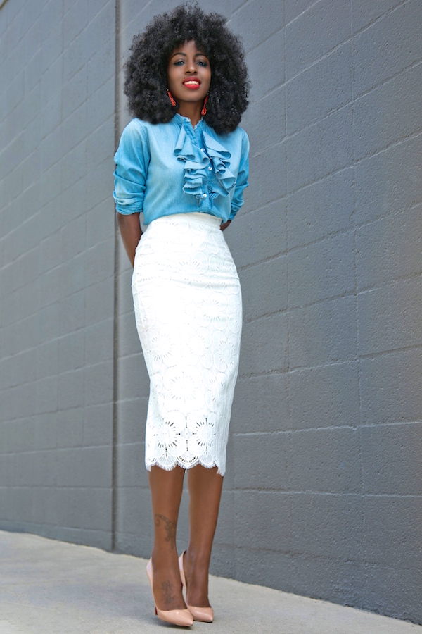 Style Pantry | Ruffle Denim Shirt   Lace Pencil Skirt