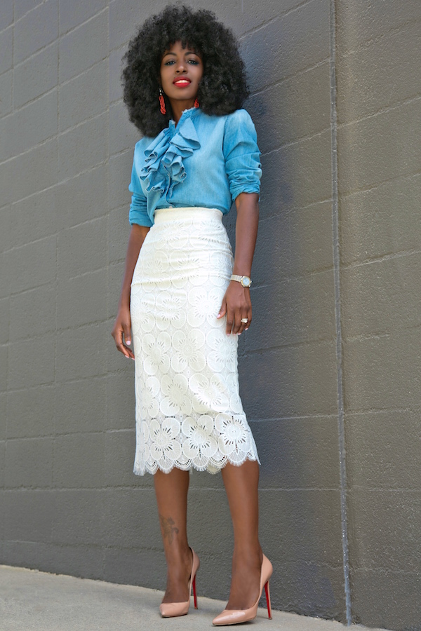 Style Pantry | lace pencil skirt
