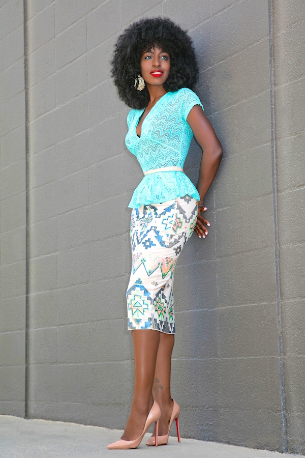 style pantry lace peplum top sequin aztec print pencil