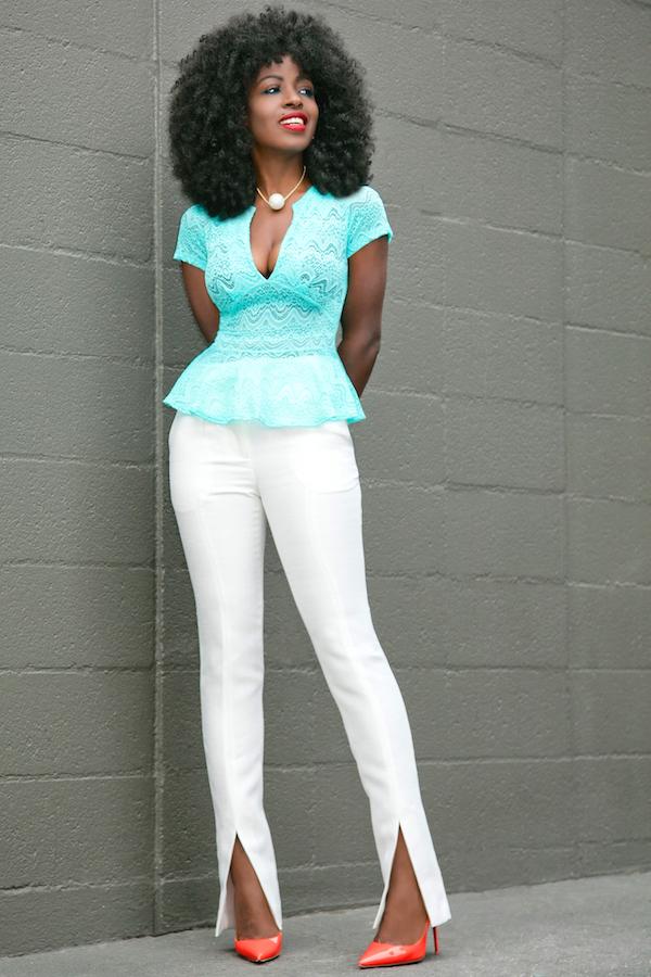 Stretch Lace Peplum Blouse + White Front Slit Pants