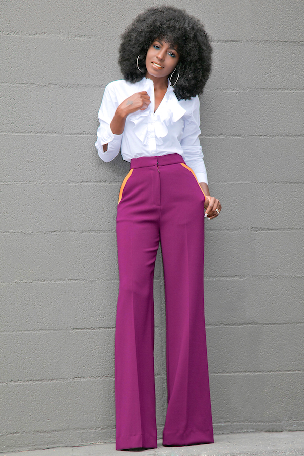 Ruffled Button Down + Contrast Pockets Wide Leg Pants