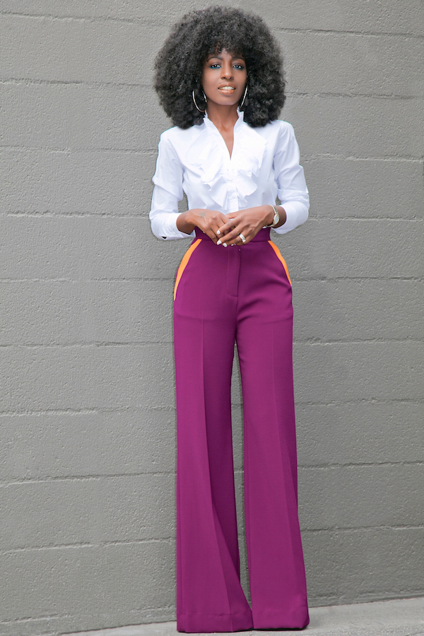 Ruffled On Down Contrast Pockets Wide Leg Pants