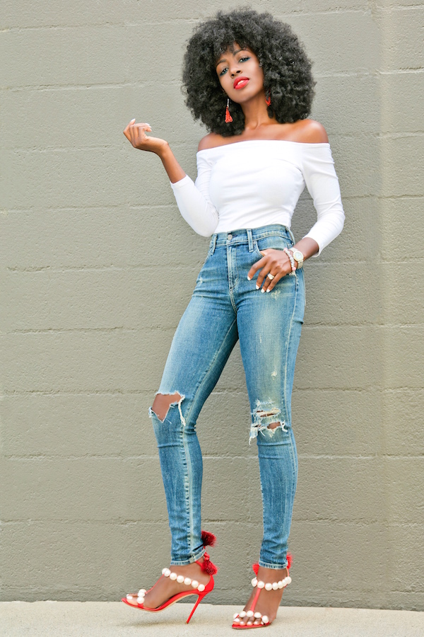 Off Shoulder 3/4 Sleeve Tee + Distressed High Waist Jeans