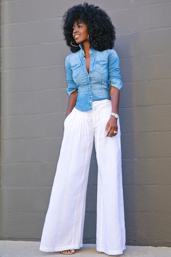 Style Pantry Fitted Denim Shirt Wide Leg Pants