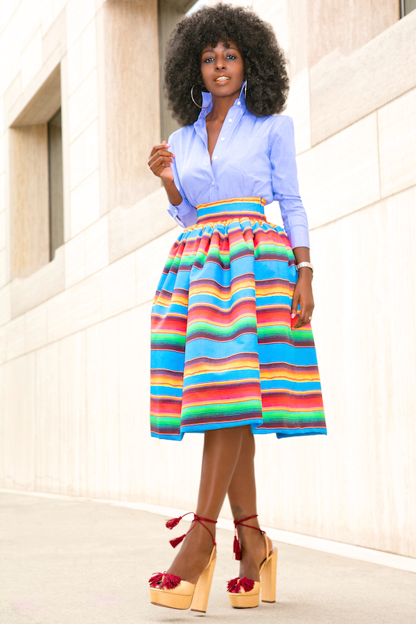 Style Pantry Oxford Boy Shirt Color Striped Full Skirt