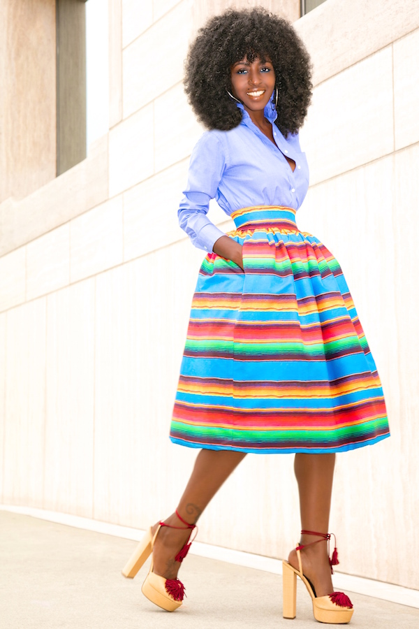 Oxford Boy Shirt + Color Striped Full Skirt