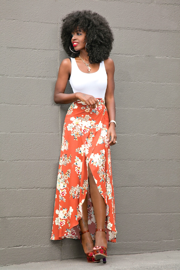 Fitted Tank + Floral Print Wrap Skirt