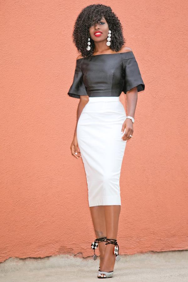 Style Pantry | white pencil midi skirt