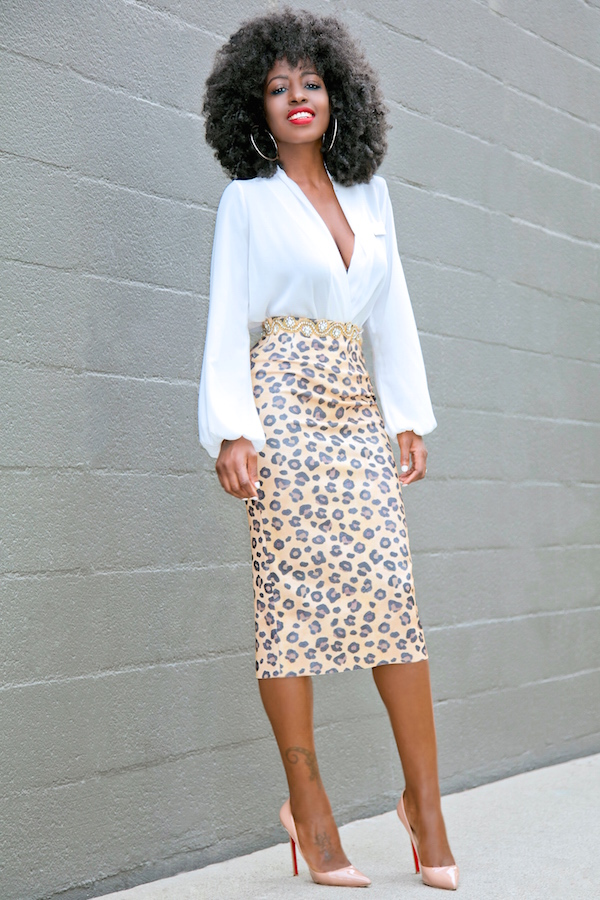 Style Pantry Faux Wrap Blouse Leopard Print Pencil Skirt