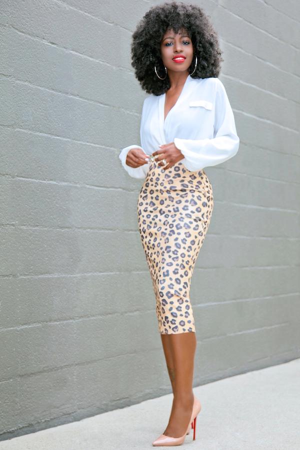 Style Pantry Faux Wrap Blouse Leopard Print Pencil Skirt