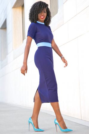 Navy Blue Dress With Baby Blue Contrast