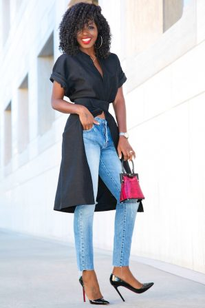 Short Sleeve Kimono Jacket + Ripped Ankle Length Jeans