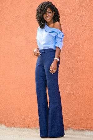 Deconstructed Shirt + Flared Trousers