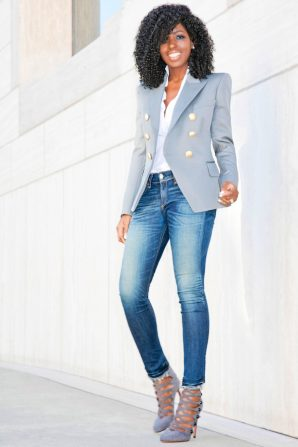 Grey Double Breasted Blazer + Button Down + Ankle Jeans