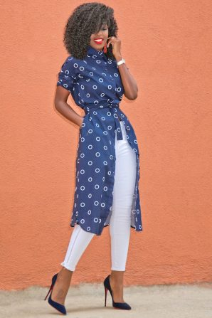 Circle Print Shirt Dress + White Moto Jeans
