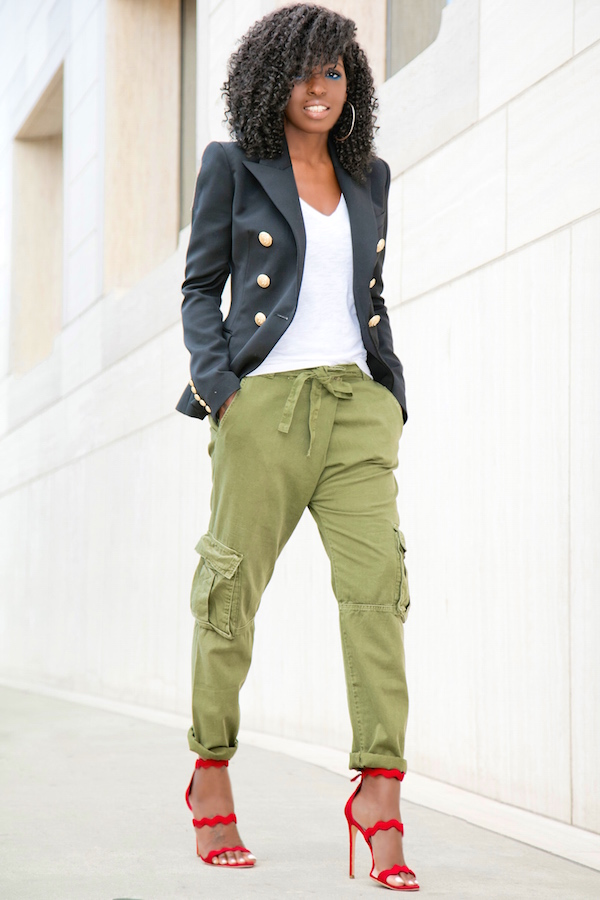 Style Pantry | Double B. Blazer + V-Neck Tee + Relaxed Cargo Pants