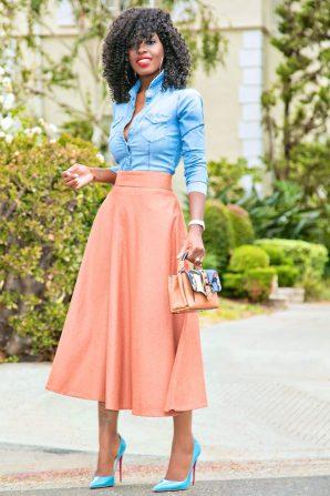 Fitted Denim Shirt + Midi Swing Skirt