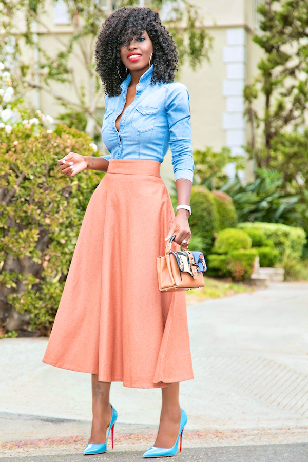 Fitted Denim Shirt + Midi Swing Skirt | Style Pantry | Bloglovinu2019
