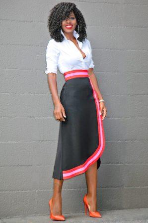 Button Down Shirt + Contrast Wave Midi Skirt