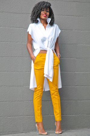Tie Front Cotton Shirt + Ankle Length Trousers