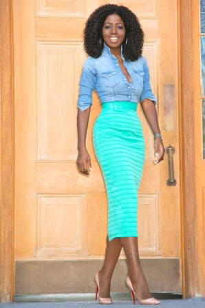 Fitted Denim Shirt + Ribbed Pencil Skirt