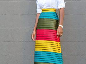 Button Down Shirt + Striped Color Block Midi Skirt