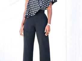 Polka Dot Single Shoulder Top + High Waist Belted Pants