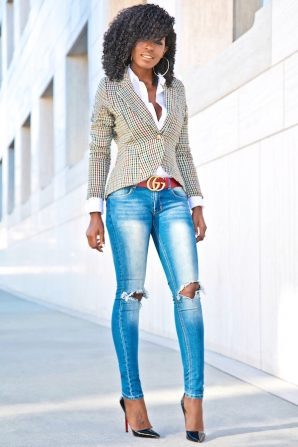 Houndstooth Blazer + Button Down + Ripped Skinnies