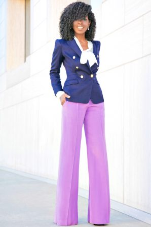 DB Navy Blazer + Wide Leg Pants