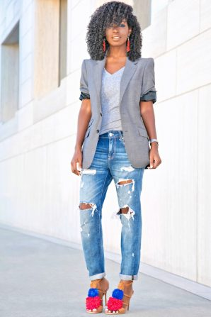 Men's Blazer + Plain Tee + Boyfriend Jeans
