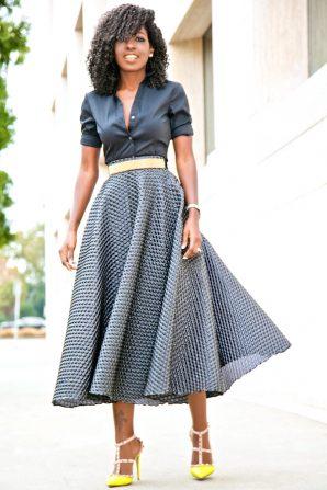 Button Down Shirt + Textured Swing Skirt