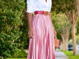 Button Down Shirt + Metallic Pink Pleated Skirt