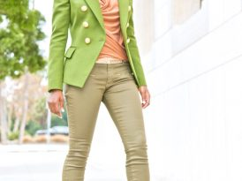 Olive Double Breasted Blazer + Cowl Neck Blouse +  Coated jeans