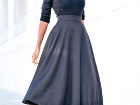 Long Sleeve Tee + Button Down + Quilted Swing Midi Skirt