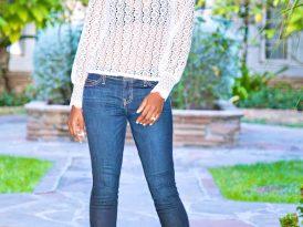 Long Sleeve Lace Blouse + Stiletto Jeans
