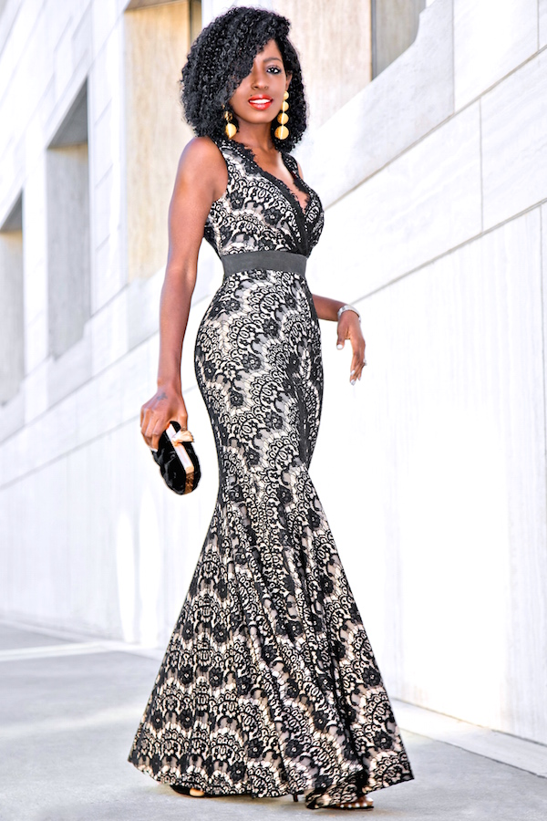 Style Pantry  Walmart Holiday Look: Lace Empire Waist Maxi Dress