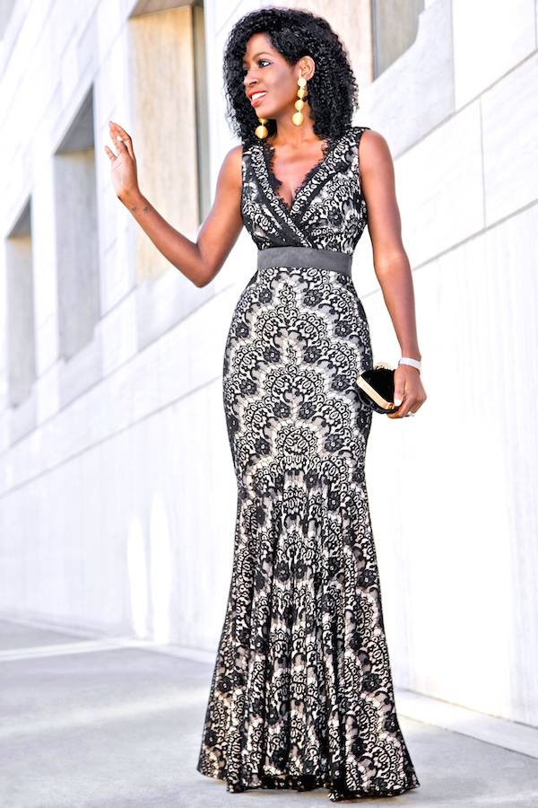 Style Pantry | Walmart Holiday Look: Lace Empire Waist Maxi Dress