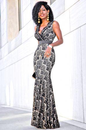 Walmart Holiday Look: Lace Empire Waist Maxi Dress