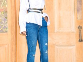 Ruffled Collar Shirt + Leather Harness + Distressed Skinnies
